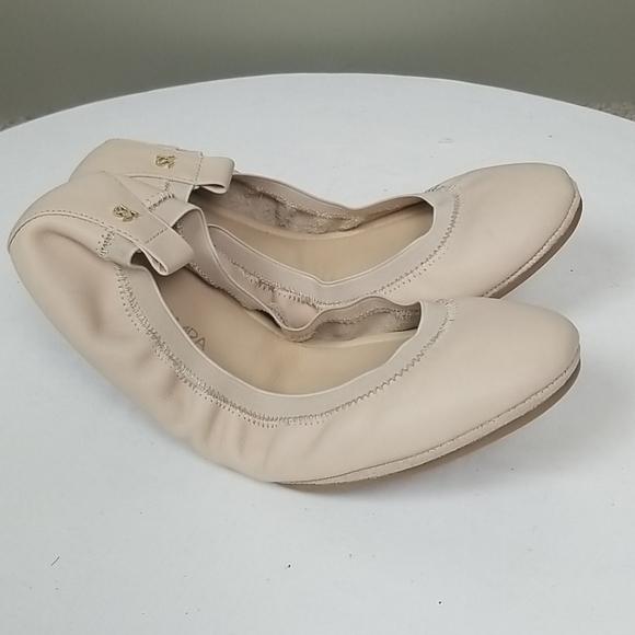 Yosi Samara Beige Leather Ballet Flats Slip Ons